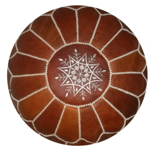 round Moroccan Leather Pouf brown