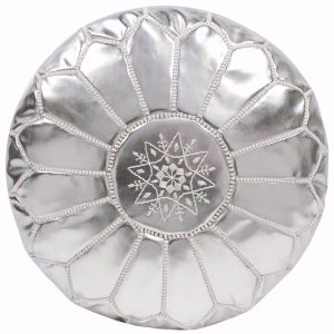 moroccan leather pouf silver