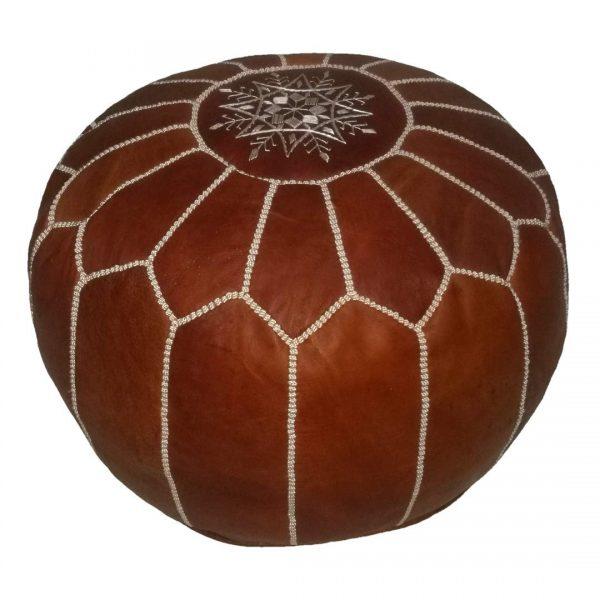 Moroccan Brown Leather Pouf Ottoman