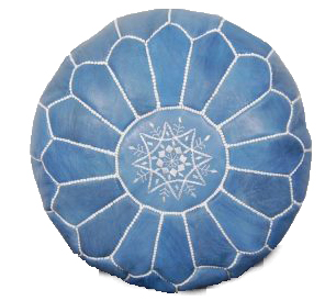 moroccan leather pouf blue