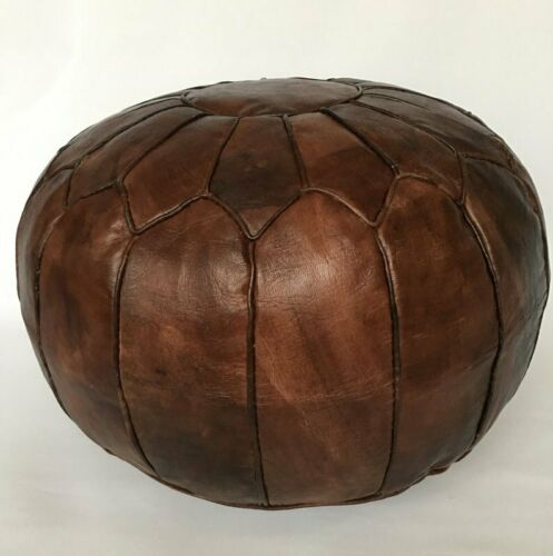 Moroccan Leather Pouf, Dark Brown