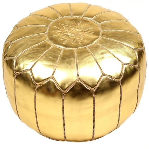 Leather gold pouf