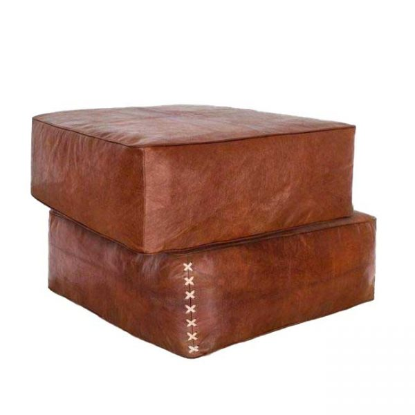 square leather pouf large
