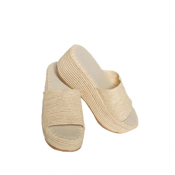 raffia slippers plateau