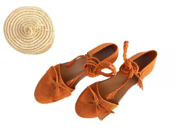 women flat raffia shoes
