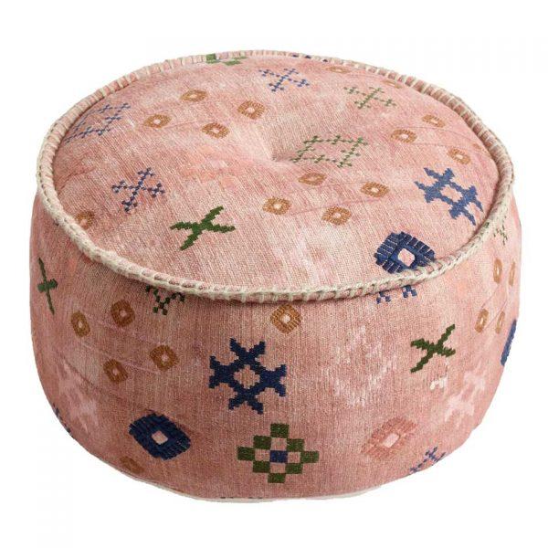 round pink pouf