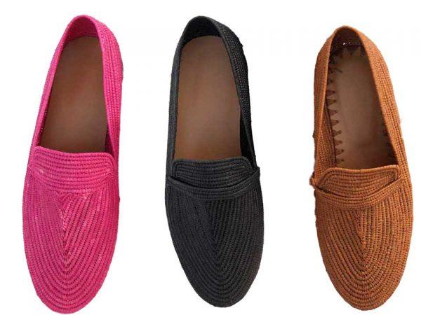 men's raffia shoes black pink brown