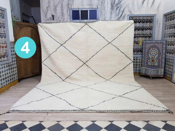 Custom Handmade Moroccan Rug, Berber Beni Ourain Rug, Beniourain carpet, White Wool Rug